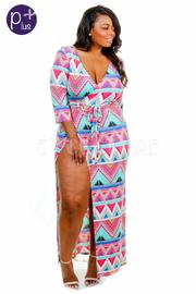 Plus Size Pattern Chevron Wrap 3/4 Sleeved Maxi Dress