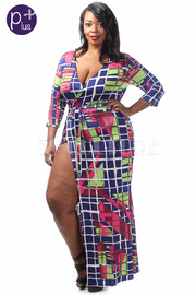 Plus Size Grid Printed Wrap Maxi Tie Dress