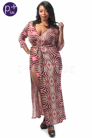Plus Size Exposed Swirl Printed Maxi Wrap Dress