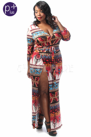 Plus Size Casual Aztec Printed Maxi Wrap Dress