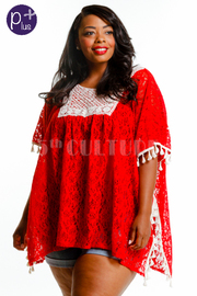 Plus Size Squared Laced Loose Blouse