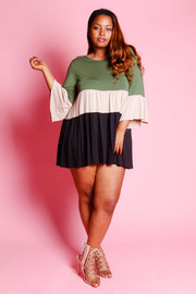 Plus Size Colorblock Striped Tunic Top