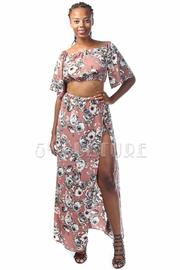 Floral Cropped Slit Side Maxi Skirt Set