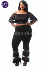 Plus Size Sheer Striped Cropped Bell Pants Set