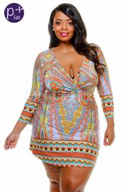 Plus Size Surplice Paisley Printed Dress