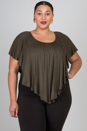 Plus Size Wide Neck Ruffle Jersey Top