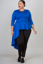 Plus Size Ruffle Side Cascade Top