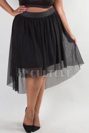 Plus Size Mesh Hi-Lo Skater Skirt