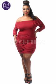 Plus Size Off Shoulder Ruched Midi Dress