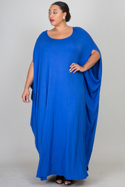 Plus Size Wide Neck Harem Jersey Maxi Dress