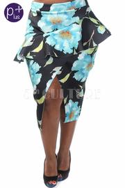 Plus Size Floral Midi Peplum Skirt