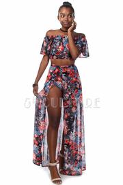 Off Shoulder Floral Mesh Maxi Skirt Set