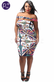 Plus Size Off Shoulder Colorful Printed Cutout Midi Dress