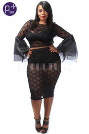 Plus Size Linked Mesh Cuff Midi Sexy Skirt Set