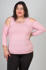 Plus Size Open Shoulder Front Cut Out Solid Top