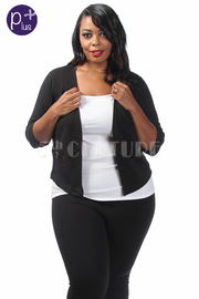 Plus Size Casual Open Blazer