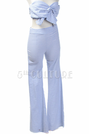 Striped Cropped Tie Flared Pants Set