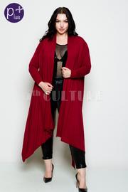 Plus Size Multi-Way Long Asymmetrical Cardigan