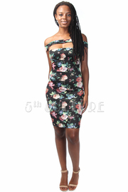 Floral Cutout Chest Bodycon Dress