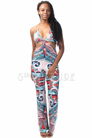 Cutout Paisley Printed Halter Jumpsuit