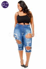 Plus Size Hole Ripped Capri Jeans