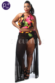 Plus Size Floral Printed Cropped Mesh Maxi Skirt Set