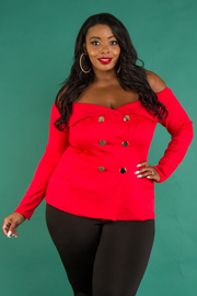 Plus Size Off Shoulder Chic Button Jacket