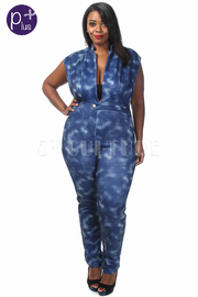 Plus Size Sexy V Detail Denim Printed Jumpsuit