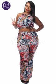 Plus Size Colorful Mixed Printed Cropped Pants Set