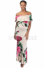 Off Shoulder Rose Layer Maxi Dress