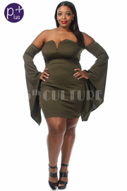 Plus Size Sweetheart Off Shoulder Flared Long Sleeved Dress