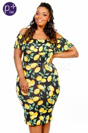 Plus Size Off Shoulder Lemon Printed Midi Dress