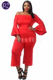 Plus Size Off Shoulder Flared Long Sleeved Capri Pants Set