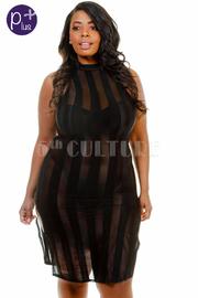 Plus Size High Neck Striped Bodycon Dress