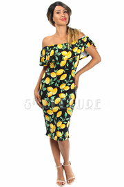 Off Shoulder Citrus Lemon Midi Dress