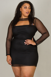 Plus Size Front Peep Hole All Mesh Dress w/ Underlay