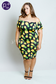 Plus Size Off Shoulder Fruity Pineapple Midi Dress
