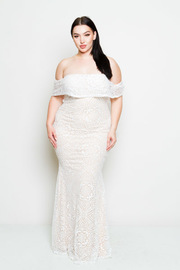 Plus Size Off Shoulder Fully Laced Maxi Cocktail Gown