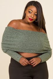 Plus Size Off Shoulder Folded Ribbed Top