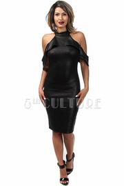 Cold Shoulder Ruffle Midi Dress