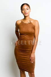 Sexy Suede Midi Halter Tube Dress