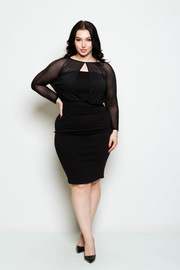 Plus Size Keyhole Mesh Night Out Bodycon Dress