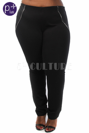 Plus Size Zipper Side Solid Pants