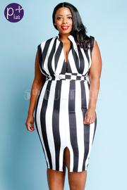 Plus Size Sexy V Detail Striped Midi Dress