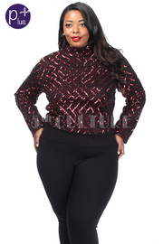 Plus Size Diamond Shiny Glam Long Sleeved Top