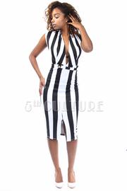 Two Toned Nautical Striped Midi Dress