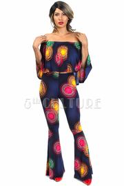 2-Piece Colorful Circle Flounce Cropped Pants Set
