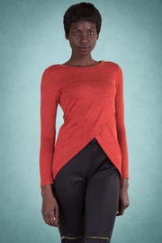 Overlap Marled Hi-Lo Long Sleeved Top