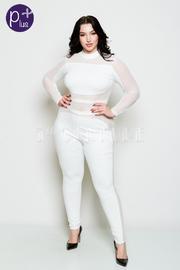 Plus Size Long Sleeved Mesh Jumpsuit