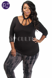 Plus Size Caged Solid 3/4 Sleeved Top